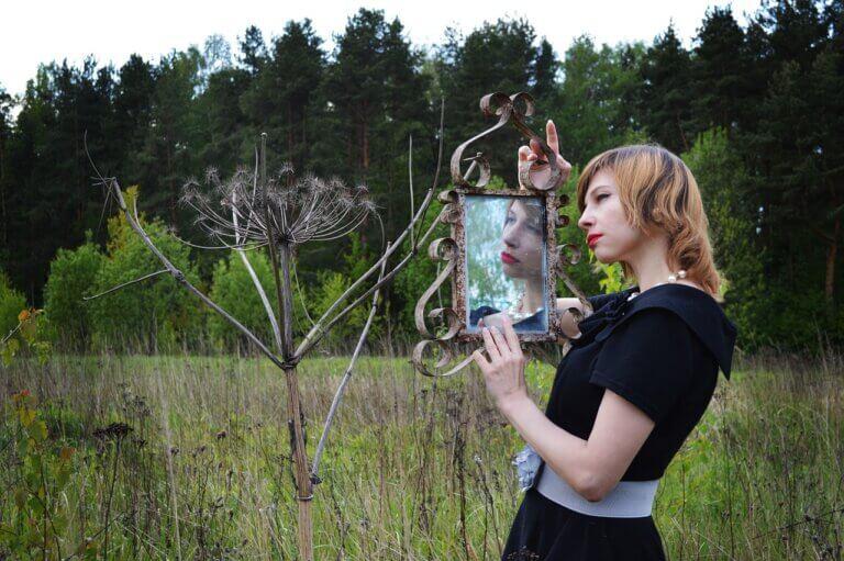 vintage, mirror, reflection